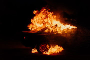 political protests, burning cars on the street