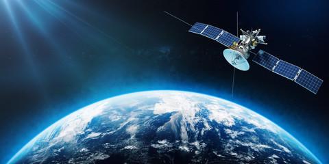 Space satellite orbiting the Earth. 3d rendering