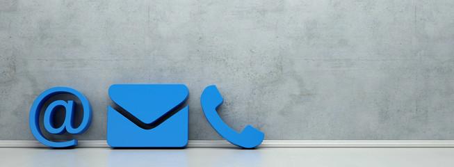 Blaue Hotline und Service Kontakt Icons als Panorama Wall mural