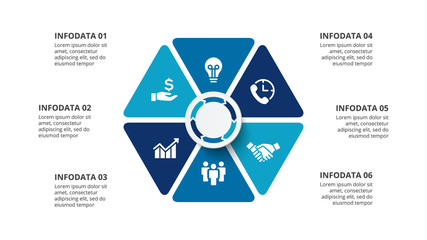 Vector hexagon infographic with 6 options. Presentation slide.