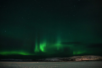 Tuinposter Noorderlicht green northern lights over the tundra filmed on a long exposure in a frosty clear night