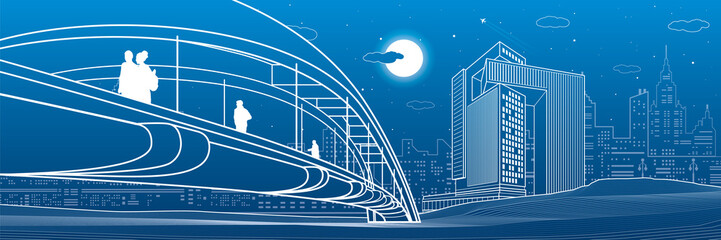 People walking at pedestrian bridge. Business city skyline. Modern night town. Infrastructure illustration, urban scene. White lines on blue background. Vector design art  Fotomurales