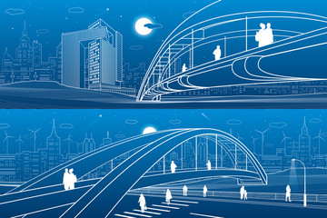 Wall Mural - People walking at pedestrian bridge. City skyline. Modern night town. Infrastructure illustration set, urban scene. White lines on blue background. Vector design art