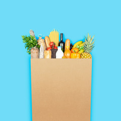 Grocery shopping bag with assorted products