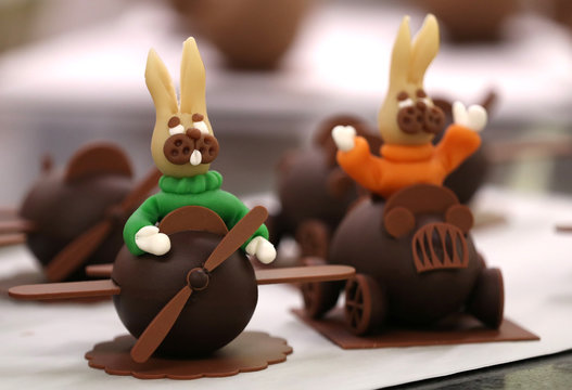 Chocolate eggs are seen at a Wittamer chocolate workshop ahead of the Easter weekend in Brussels