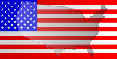 Graphic illustration of American flag with a contour of its borders
