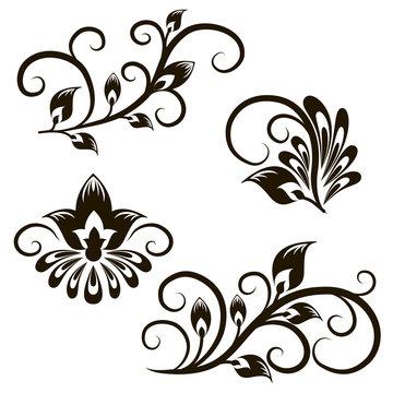 Vector set of decorative vintage elements