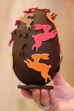 A chocolate egg is seen at a Wittamer chocolate boutique ahead of the Easter weekend in Brussels