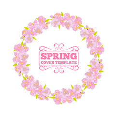 Cherry blossom wreath frame for invitation or greeting car design. Circle or round flower border. Vector illustration.