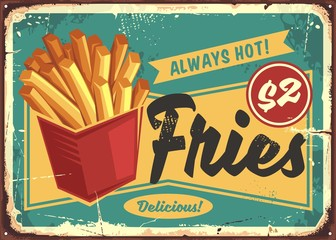 French fries in red box vintage fast food sign. Street food fries retro poster design. Junk food restaurant promotional ad concept. Potato chips vector illustration.
