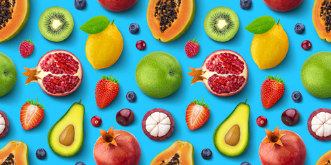 Seamless pattern of different fruits and berries, flat lay, top view, tropical and exotic texture - fototapety na wymiar