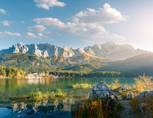 Awesome alpine highlands in sunny day. Nature Landscape.