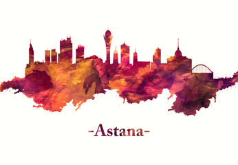 Fototapete - Astana Kazakhstan skyline in Red