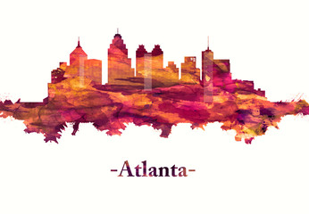 Fototapete - Atlanta Georgia skyline in Red