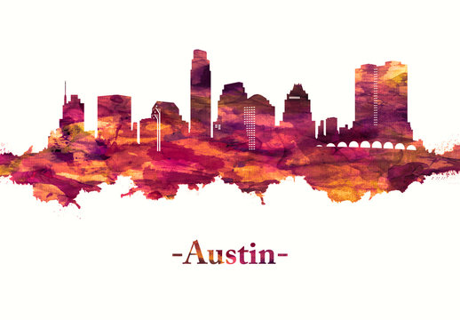 Austin Texas skyline in Red