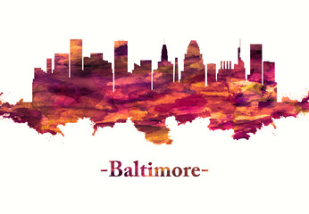 Fototapete - Baltimore Maryland skyline in Red