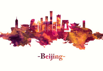 Fototapete - Beijing China skyline in Red