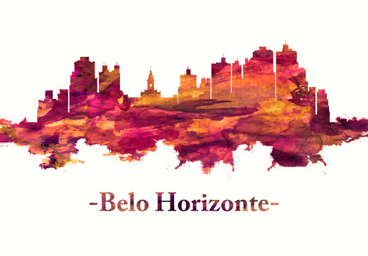 Belo Horizonte Brazil skyline in Red