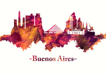 Wall Mural - Buenos Aires Argentina skyline in Red