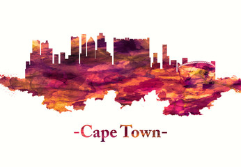 Fototapete - Cape Town skyline in red
