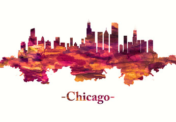 Wall Mural - Chicago Illinois skyline in red
