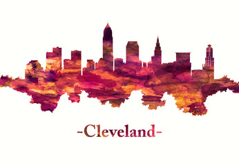 Fototapete - Cleveland Ohio skyline in red