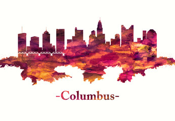 Fototapete - Columbus Ohio skyline in red
