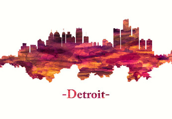 Fototapete - Detroit Michigan skyline in red