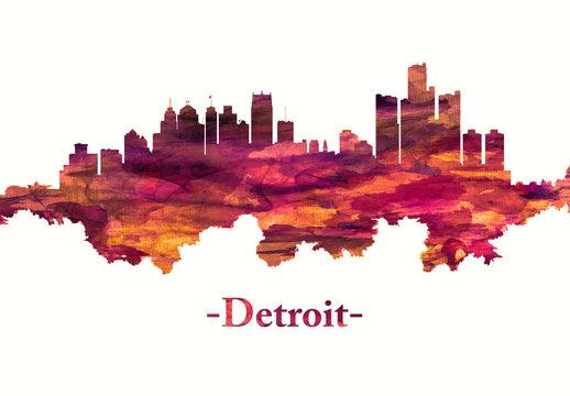 Detroit Michigan skyline in red
