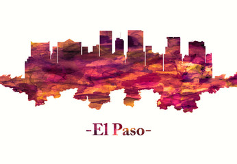 Fototapete - El Paso Texas skyline in red