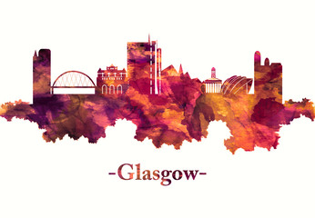 Fototapete - Glasgow Scotland skyline in red