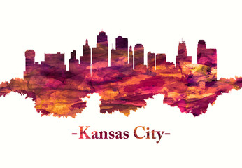 Fototapete - Kansas City Missouri skyline in red