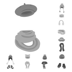 f2c8975059081 Isolated object of headwear and fashion symbol. Collection of headwear and  cold stock vector illustration