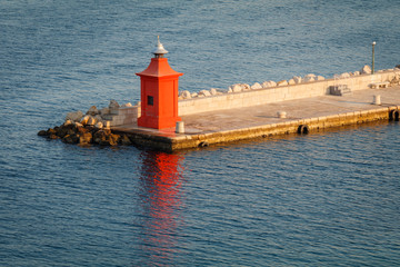 Old red lighthouse in Piran, Slovenia