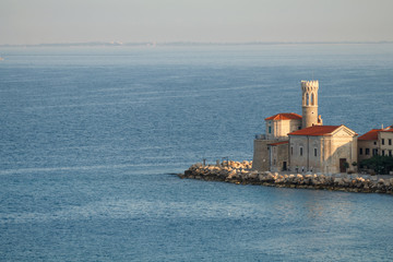 Old Church on the Pier in Piran during sunrise, Slovenia
