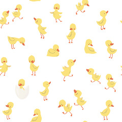 Childish pattern with little ducklings