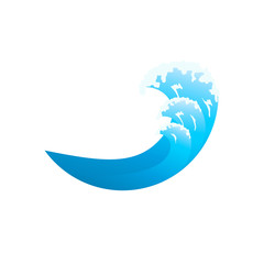 Ocean Wave Isolated Illustration. Blue ocean waves with white foam.