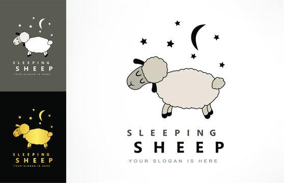 sleeping sheep, moon and star logo vector