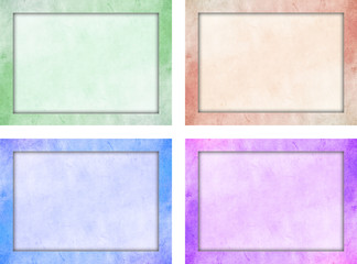 Set of four isolated picture franes with colored grunge texture and and a light color interior texture. Green, Blue, Red, Purple