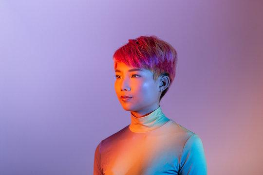 Creative shot of futuristic asian young adult