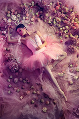 Graceful youth. Top view of beautiful young woman in pink ballet tutu surrounded by flowers. Spring mood and tenderness in coral light. Art photo. Concept of spring, blossom and nature's awakening.
