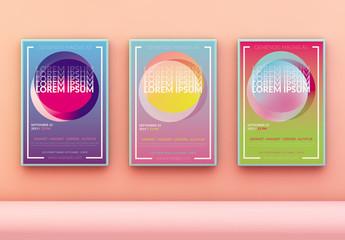 Colorful Pop Gradients Poster Layout Set