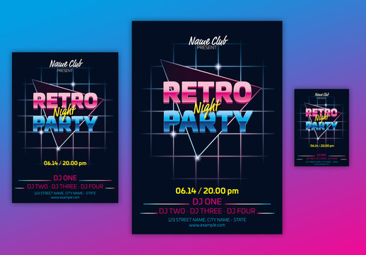 Retro Party Poster Layout with Neon Accents