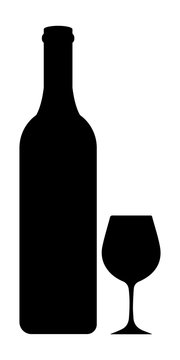 Bottle and glass of wine in black and white style