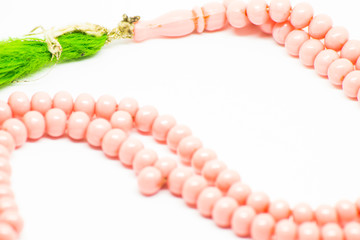 Green Hairy Pink Beaded Rosary