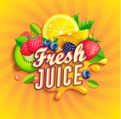 Fresh juice logo with splash, fruits and berries on sunburst background.Orange,lemon, strawberries,blueberries,raspberries and blackberries for banner,poster,brand,template and label,packaging,packing