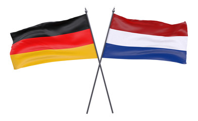 Germany and Netherlands, two crossed flags isolated on white background. 3d image