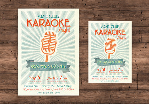 Karaoke Open Mic Poster with Orange and Blue Print Elements