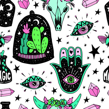 Vector Magic love seamless pattern, witch craft collection