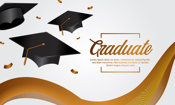 education concept graduation party banner with cap and golden banner silk